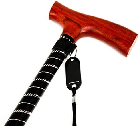 ステッキ - アルミ合金スティックボディ無垢材ハンドルライト格納式滑り止めステッキ (色 : A)