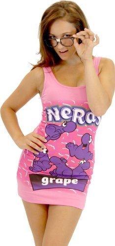 Candy Bar Halloween Dresses (Nerds Candy Grape Juniors PINK Tunic Tank Dress with Nerd Glasses (Juniors)