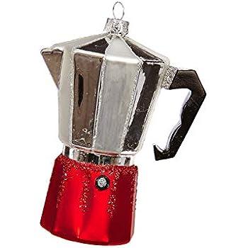 RAZ Imports Glass Espresso Coffee Pot Ornament