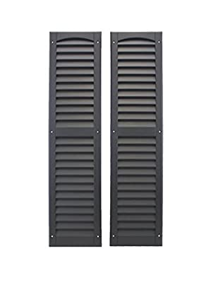 """Louvered Shed Shutter or Playhouse Shutter Black 9"""" X 36"""" Sold by The Pair"""