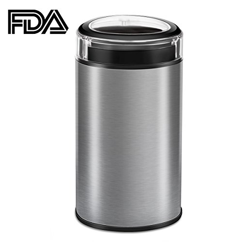 Electric Coffee Grinder, CUSIBOX Multifunctional Stainless Steel Coffee Grinder Fast Grinding Coffee Beans, Nuts, Grains, Spices (Sliver)