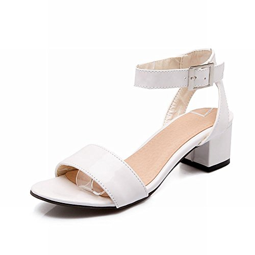 Carol Shoes Women's Concise Sweet Mid Heel Buckle Open Toe Sandals White Fif4B