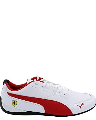 PUMA Men's Ferrari Drift Cat 7 Sneaker, White-Rosso Corsa Black, 9 M US (Puma Drift Ferrari Cat)