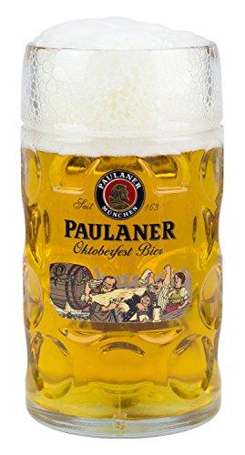 Paulaner Dimpled Isar Beer Mug - 1 Liter Mass Krug (Oktoberfest Edition)