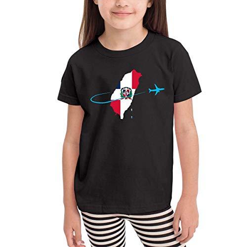 Ambulseek Little Girls Dominican Flag with Plane Cute Short Sleeve T-Shirt Size 2-6