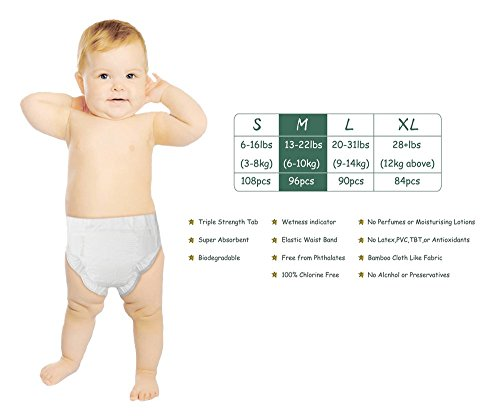 ECO BOOM Baby Bamboo Biodegradable Diapers Infant Nature Disposable Diapers Eco Friendly Nappies for Babies Size L 90 Count-Pack
