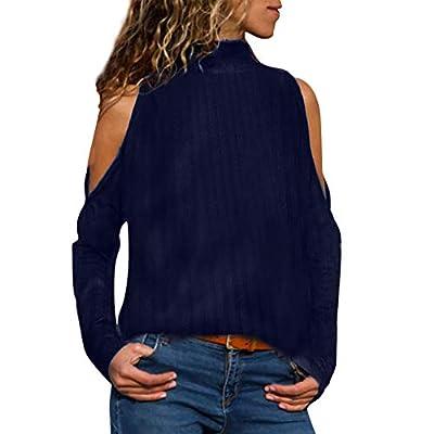 Sweaters for Women,Kulywon Women Winter High Neck Off Shoulder Striped Plain Sweaters Tops Blouse T Shirt