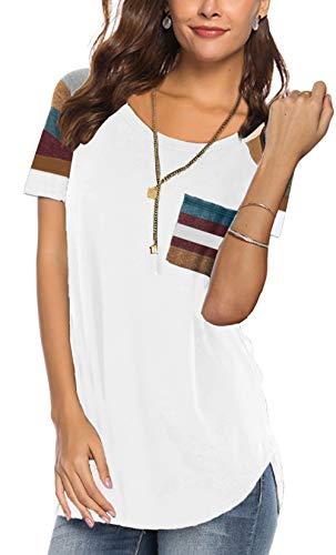 5e0a13c3cb903 Women s Fashion Tops 2019 Short Sleeve Loose Fit Junior Cute T Shirts Tunic  Blouse White XL