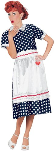 Fun World Women's I Love Lucy Polka Dot Dress Lg Adult Costume, Multi, Large
