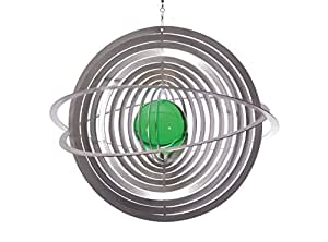 illumino de acero inoxidable Wind parte Saturn con smaragdgrüner 50mm Bola de cristal