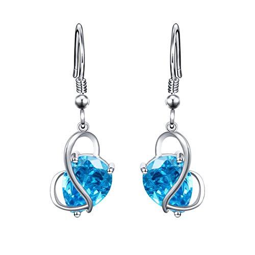 (YinShan Austria Blue Zircon Jewelry 925 Sterling Silver Butterfly Wing Simple Teardrop Dangle Earrings and Necklace Set)