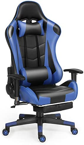Labradores Gaming Office Chair PU Leather High Back Desk Chair for Adult Teens Ergonomic Computer Desk Chair with 3D Adjustable Armrest and Memory Foam Headrest & Lumbar Support(Blue)