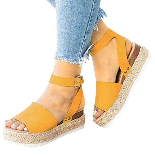 Mafulus Womens Espadrilles Platform Sandals Wedge Ankle Strap Studded Open Toe Summer Sandals Yellow