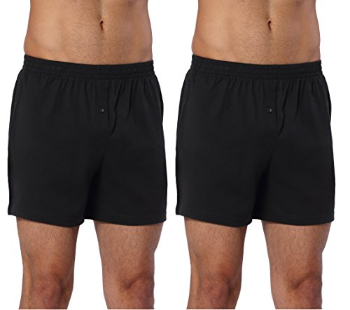 CYZ Mens 2-Pack 100% Cotton Knit Boxer Shorts/Lounge Shorts-BlackBlack-M (Loose Fit Boxer Underwear)