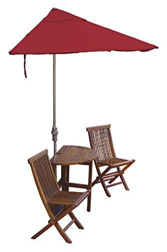 Blue Star Group Terrace Mates Caleo Premium Table Set w/ 9'-Wide OFF-THE-WALL BRELLA - Jockey Red Sunbrella (Red Sunbrella Canopy)