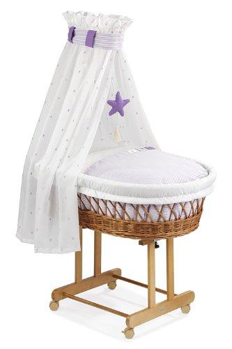Christiane Wegner 9019 01-545 Maxi - Cuna con dosel y ruedas (82 x 43 cm), color crudo y lila: Amazon.es: Bebé