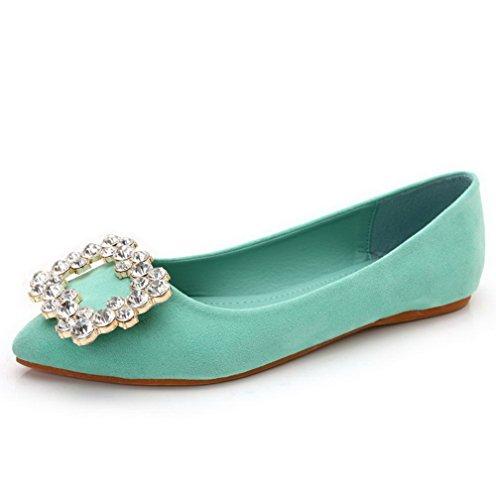 AalarDom Damen Spitz Zehe Nubukleder Flache Schuhe mit Wasser Diamanten Grün
