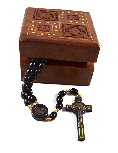 (Catholic Saint St. Benedict Medal Black Rosary. Black oval wood beads Size: 10 Mm , Crucifix Decorative hand carved wooden box Mysteries of the Holy Rosary card )