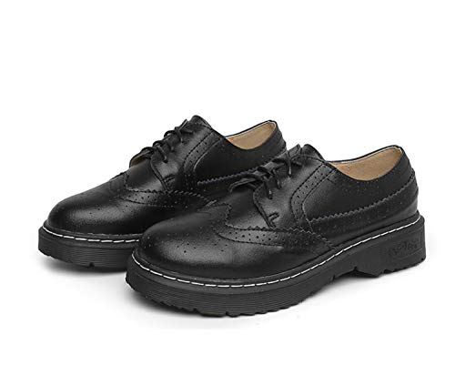 Mujer Zapatos College Negro Flat Mocasines Tallados Retro British De up Brogue r1wB5Trnq