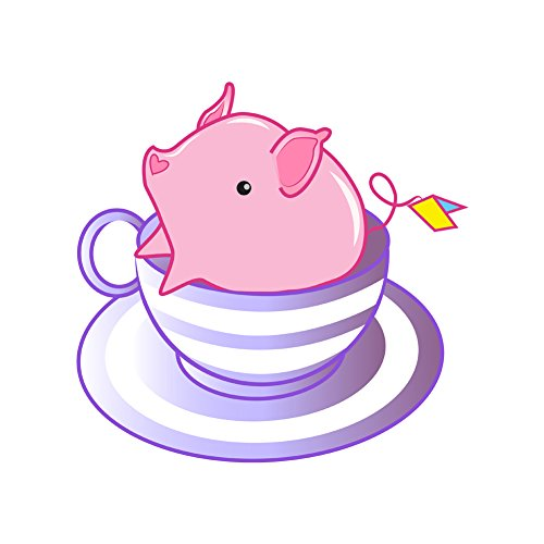 (Teacup Pig in A Striped Purple Teacup Cute and Adorable - Vinyl Sticker)