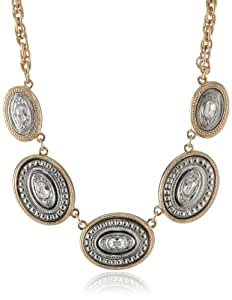 "Signature 1928 Gold Silver-Tone Crystal Accents Oval Station Necklace, 16""+3"""