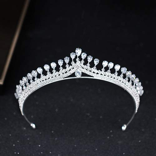 Lessonmart Luxury Women Princess Crown Headband Crystal Rhinestone Tiara and Crown Hair Band Jewelry Silver Bridal Hair Accessories Wedding by Lessonmart
