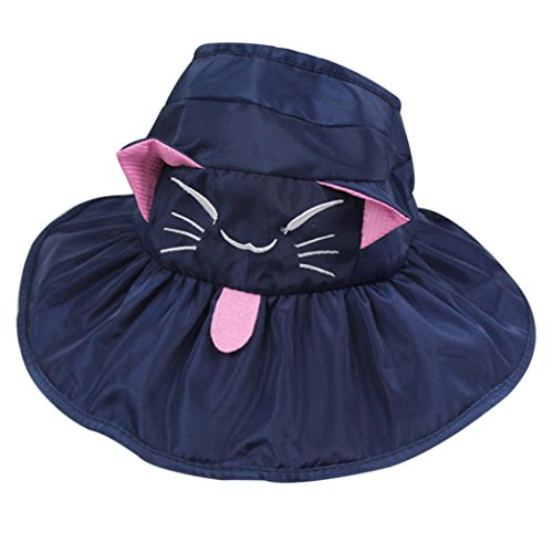 Livoty Kids Soft Visor Bucket Hat Wave Casquette Sun Hat (Navy)