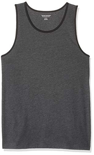 Charcoal Ringer - Amazon Essentials Men's Slim-Fit Ringer Tank Top, Charcoal Heather/Black, Large