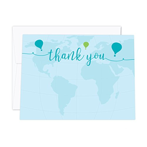 Andaz Press Hot Air Balloon Adventure World Map Party Collection, Blue Green, Blank Flat Thank You Notes with Envelopes, 20-Pack, Birthday Bon Voyage Decorations -