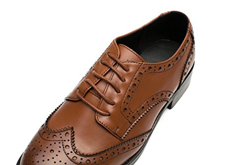 U-lite Donna Stringate Perforate Stringate Piatte In Pelle Oxford Vintage Scarpe Oxford Brogue Marrone