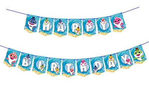 Cute Shark Family Happy Birthday Banners for Kids Shark Theme Birthday Party,17 Flags.