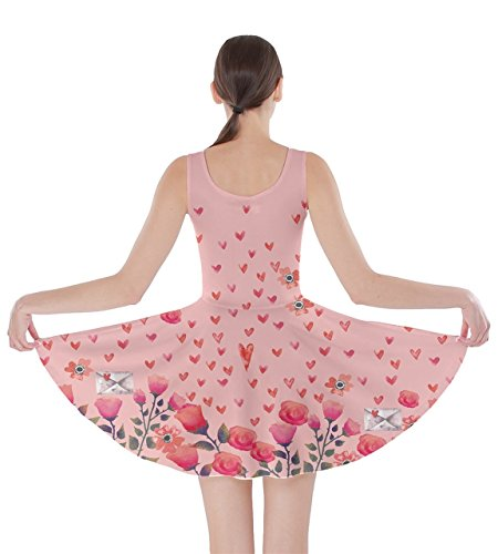 Cute Pink Valentines Pink Day 5XL XS Skater CowCow Sending Dress Love Love Womens Hearts gw1OnqE