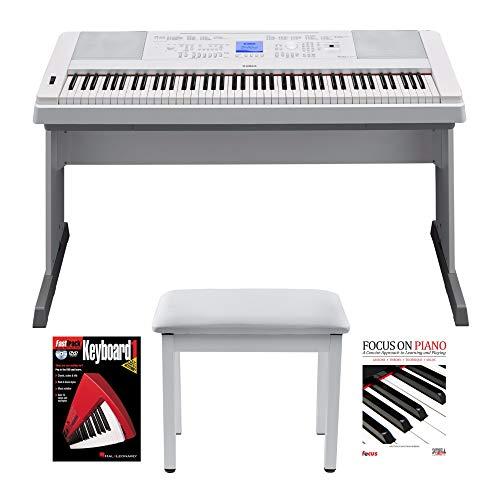 Yamaha DGX660W 88 Key Digital Piano with Knox Piano Bench and Book/DVD