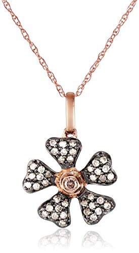 10k Rose Gold Brown Diamond Flower Pendant Necklace ( .25 cttw, H-I Color, I2-I3 Clarity), 18″