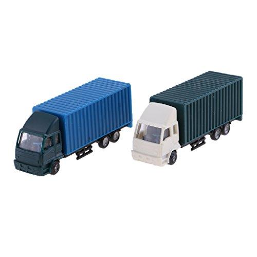 Perfk 2個 プラスチック 模型 貨物車モデル フィギュア トラックモデル 全2サイズ - 1:100スケールの商品画像