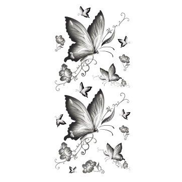 Oottati Tatuajes Temporales Sexy Mariposa En Blanco Y Negro 2 Hojas