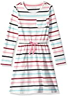 Amazon Essentials Little Girls' Long-Sleeve Elastic Waist T-Shirt Dress, multi stripe white with white bow, M