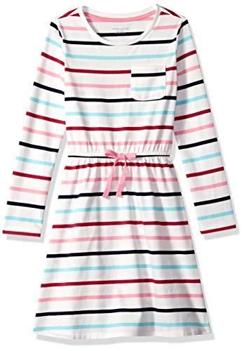 Amazon Essentials Toddler Girls' Long-Sleeve Elastic Waist T-Shirt Dress, multi stripe white with white bow, 4T