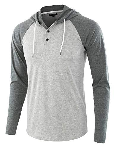 - HETHCODE Men's Casual Lightweight Long Sleeve Raglan Henley Jersey Hoodie Shirt H.Gray/S.Green L