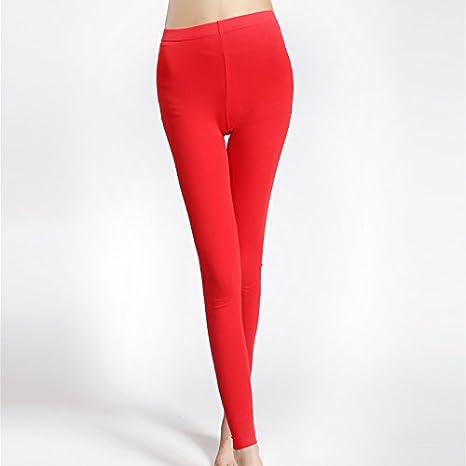 LVLIDAN Pantalones Cintura Alta Invierno Leggings Mujer Puro algodón Slim Fit Color sólido Todo el código Rojo: Amazon.es: Deportes y aire libre