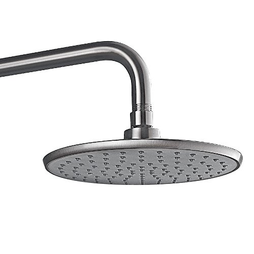 Purelux Rain Shower Head Brushed Nickel Finish, Modern Style 8 Inches Shower Heads with Brass Swivel Ball Connector & Flow Restrictor
