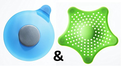 2wayz 1+1: Bath Tub Drain Stopper + Silicone Hair Catcher. Stop Watching Water Get Lower and Lower! Best Drain Cover & Hair Trap Bundle. Fit to All Size, Money Saver, Easy to Clean, Latex Free Combo!