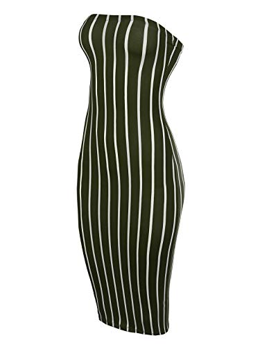 (BEYONDFAB Women's Super Sexy Comfortable Tube Top Body-Con Midi Dress Olive M)