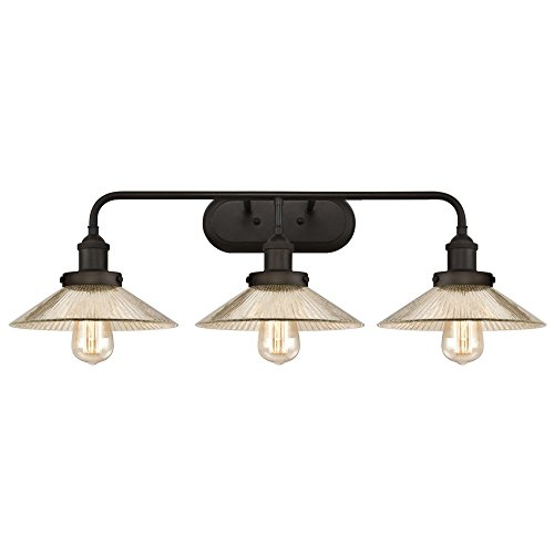 Westinghouse 6337800 Bonnie Three-Light Indoor Wall Fixture, Oil Rubbed Bronze Finish with Antique Mirror ()