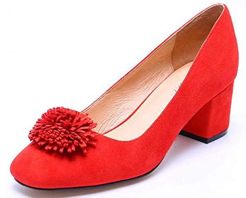 Taille Unique Rouge 39 Montré Oudan Comme Montré Rond Cuir Les coloré Dames Avec Chaussures Dur CO7wg0Cq
