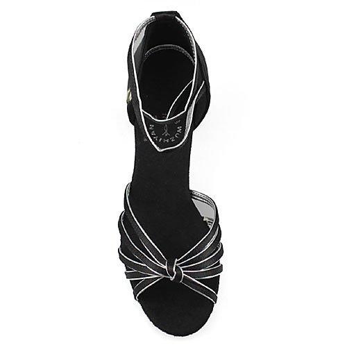 latino Swing Jazz Salsa Practice Satin Tango Performance ballo T e Chunky Indoor Tramutante Nero T sliver e da Q sandali da Heel Scarpe donna Multicolor Ballroom xRZTHqax