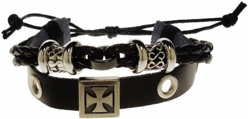 Bracelet - Black Leather Brushed Metal Iron Cross Bracelet - Kiki's Framed Iron Cross