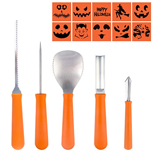 Set of 5 Halloween Pumpkin Carving Tool Kit,Sky Castle 5 Easy Halloween Pumpkin Carving Tools Reusable Stainless Steel Carving Tools With10 Carving Stencils for Adult and Child