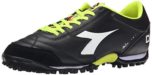 Diadora Men's Italica 3 LT TF Soccer Turf Shoe, Black/White, 7.5 M (Italico Leather)