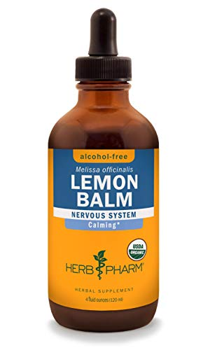 Herb Pharm Alcohol-Free Lemon Balm Liquid Glycerite for Calming Nervous System Support - 4 Ounce